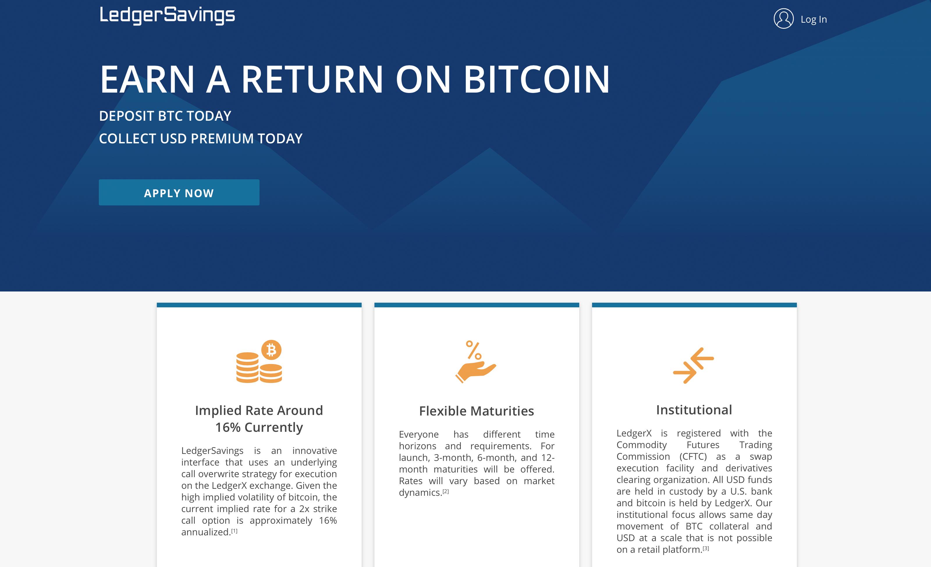 CFTC-Regulated Ledgerx Launches Interest-Bearing BTC Savings Platform